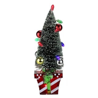 """10.5"""" Battery Operated Lighted Christmas Tree Stocking Holder with LED Lights"""