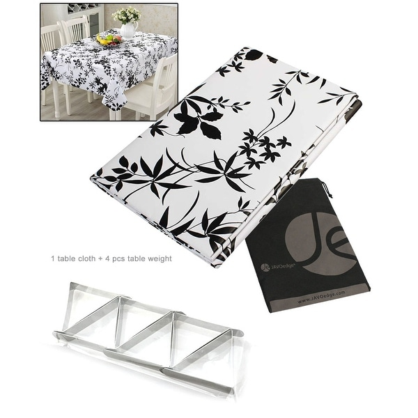 JAVOedge Black Leaf Water Resistant Table Cloth + Silver Leaf Metal 4 Pack Table Clip / Clamp for Picnic, Outdoor, BBQ