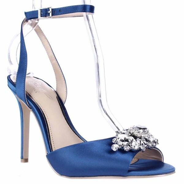 Jewel Badgley Mischka Hayden Ankle Strap Dress Sandals, Blue Satin