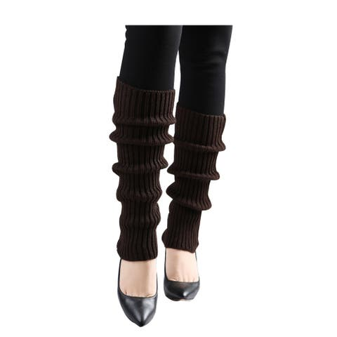 Women Toeless Ribbed Cuffs Over Knee Length Knit Leg Warmers - Dark Brown