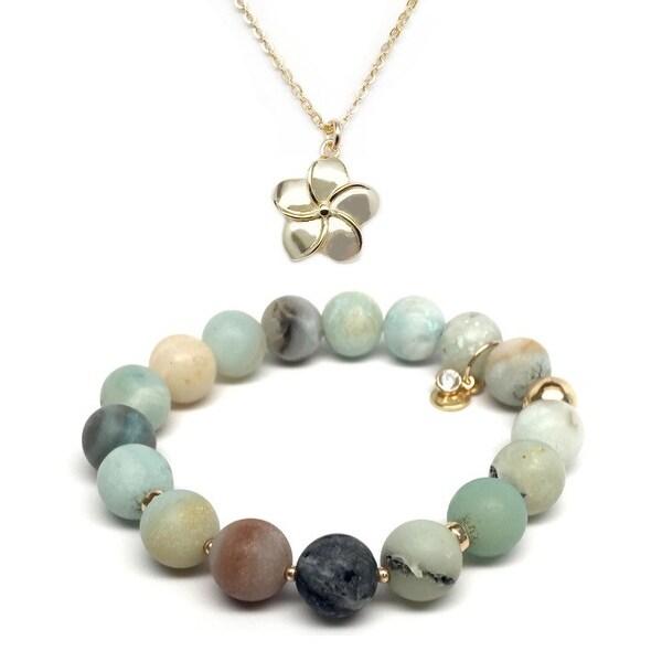 Green Amazonite Bracelet & Flower Gold Charm Necklace Set