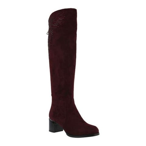 Azura Women's Aketa Over The Knee Boot Bordeaux Microsuede