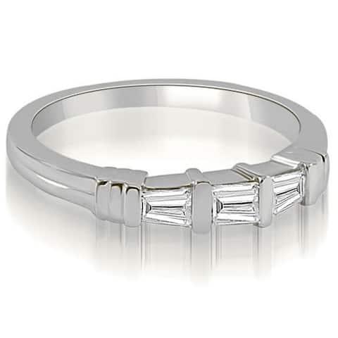 0.25 cttw. 14K White Gold 3-Stone Bar Set Baguette Diamond Wedding Ring