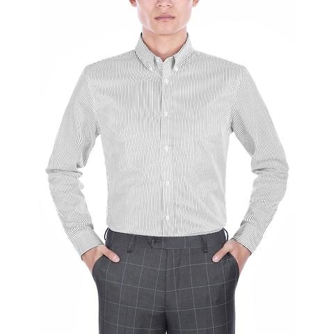 Men's Long Sleeve Slim-Fit Striped Summer Dress Shirt