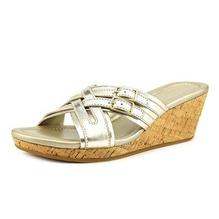 Cole Haan Corby Slide.II Women Open Toe Synthetic Gold Wedge Heel