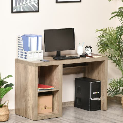 HOMCOM Rectangle Computer Desk with Thick Board and Display Shelves for Home Office Table Workstation