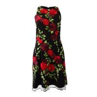 Betsey Johnson Women's Embroidered Racerback Dress (6, Black Multi) - Black Multi - 6