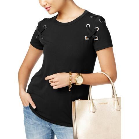 Michael Kors Womens Lace-Up Embellished T-Shirt