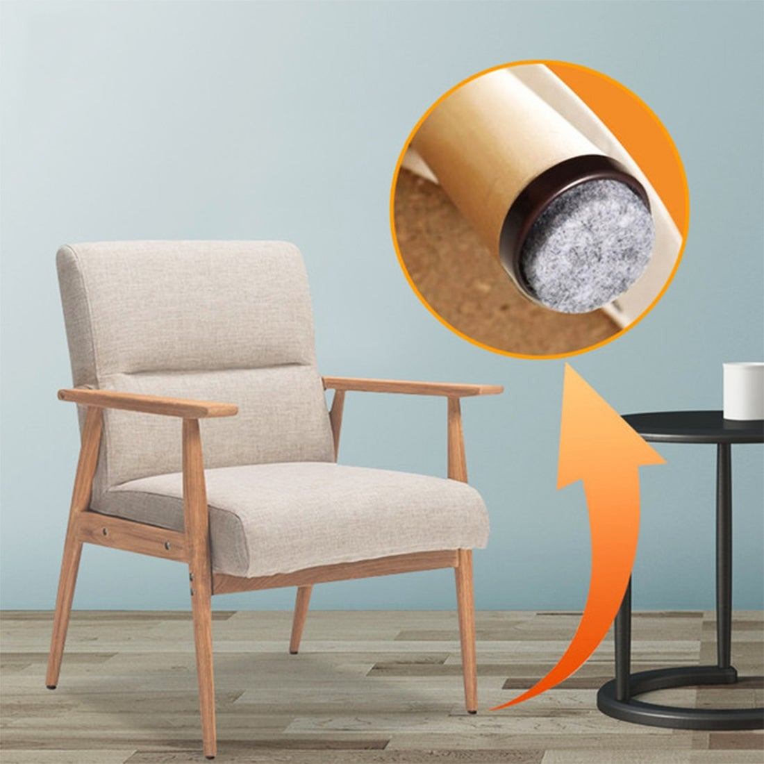 Furniture Glides Durable Felt Glider Chair Glides with Nail 20 24 28 MM