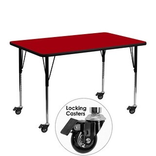 Fun & Games Activity Table 24''W x 48''L Rectangular Red Thermal Laminate Adj Height w/Wheels