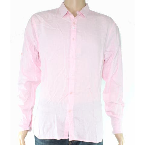 Youhan Mens Dress Shirt Light Pink Size Small S Solid Linen Button Front