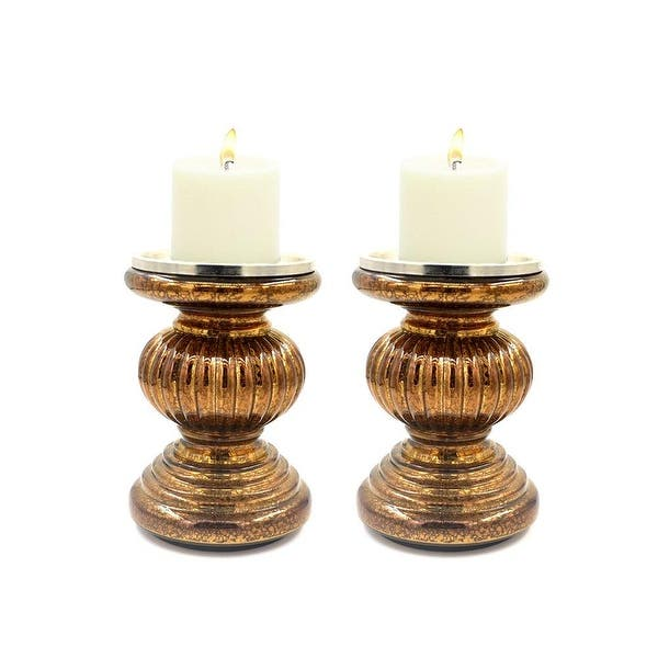 S 2 Lit Candle Holder Pedestals 9 Height Handmade Festive Ribbed Mercury Glass Pillar Candle Stand Holder With Led Lights Overstock 25767540