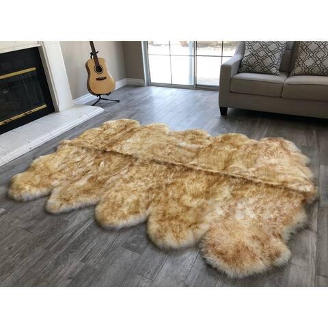 "Dynasty 10-Pelt Luxury Wool Sheepskin White with Brown Tips Shag Rug - 5'5"" x 8'6"""