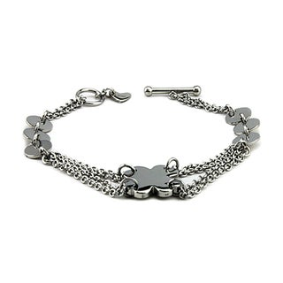 Stainless Steel Ladies Charm Toggle Bracelet 7 Inches