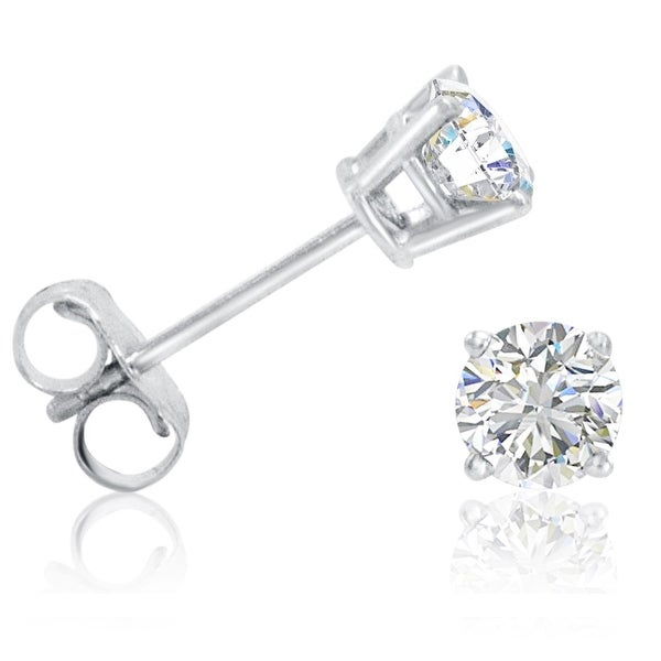 Amanda Rose AGS Certified 1/2ct tw Round Diamond Stud Earrings in 14K White Gold