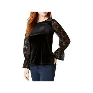 Kensie Womens Casual Top Velvet Lace Sleeves