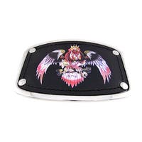 Chrome & Black Leather Dog Eagle Belt Buckle