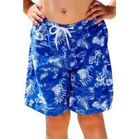 Sun Emporium Little Boys Navy Aloha Print Board Shorts