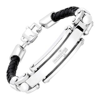 Men's Braided Leather Cross Bracelet with Cubic Zirconia in Stainless Steel - White