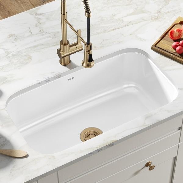 "KRAUS Pintura Enameled Stainless Steel 31 1/2"" Undermount Kitchen Sink. Opens flyout."