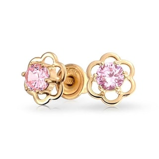 Minimalist Tiny Pink CZ Open Flower Stud Earrings For Teen Cubic Zirconia Imitation Pink Topaz 14K Real Gold Screwback