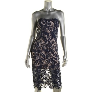 Olivaceous Womens Juniors Lace Strapless Cocktail Dress