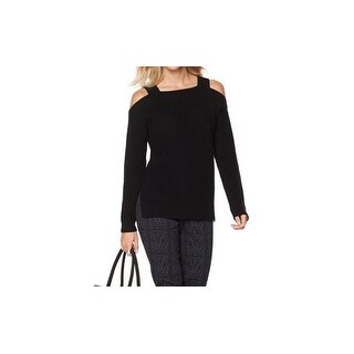 That Woman By Marlo Thomas NEW Black Women XL Cold-Shoulder Knit Sweater