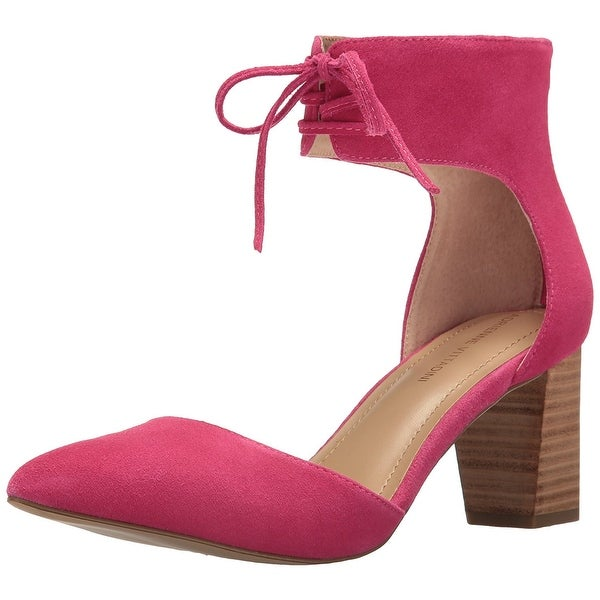 Adrienne Vittadini Womens Nicole Suede Pointed Toe Ankle, Hot Pink, Size 8.0