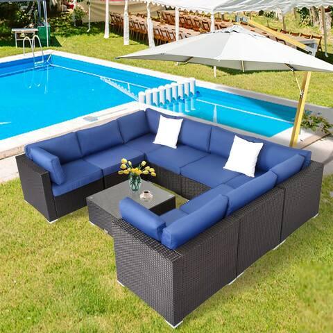 Kinbor Patio Sectional Sofa All-weather Rattan Chat Set