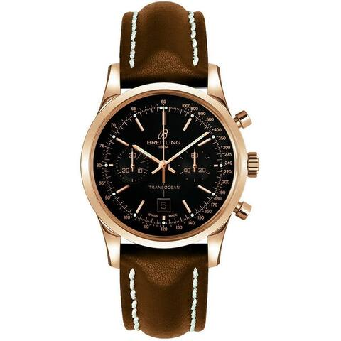Breitling Men's R4131012-BC07-431X 'Transocean' Chronograph Brown Leather Watch - Black