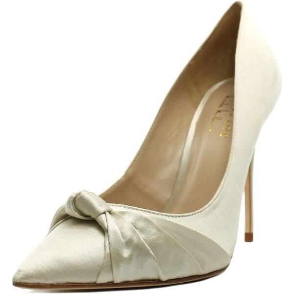 Nicole Miller Jeffrey Women Pointed Toe Canvas Ivory Heels