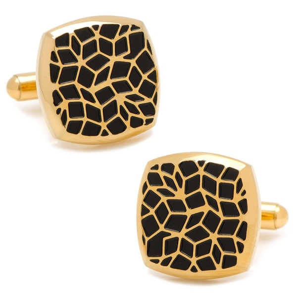 Gold Stainless Steel Geometric Cell Cufflinks