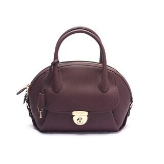 Salvatore Ferragamo Fiamma Leather Satchel Handbag 21 E770 13 7 Burgundy - Red - L