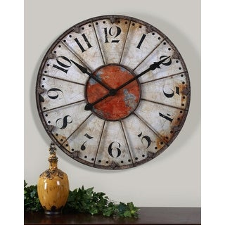 "29"" White and Brown Rustic Edgy Urban Decorative Wall Clock"