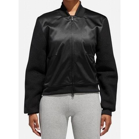 Adidas Black Womens Size XL Full Zip Satin Sherpa Sleeve Jacket