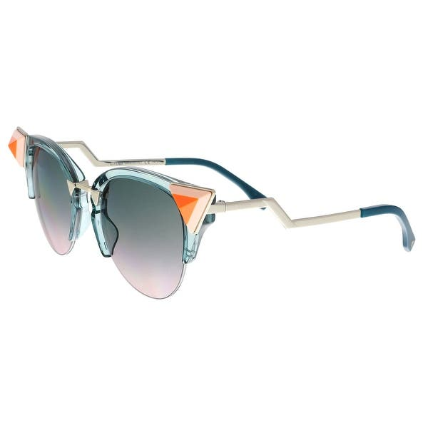 029a95a13f7 Shop FENDI 0041 N S 0BR0- JP Transparent Blue Cat eye Sunglasses ...