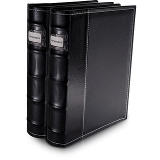 Bellagio-Italia Black Leather CD/DVD Binders 2 pack