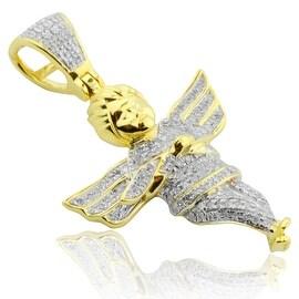 Diamond Pendant Angel Mens or Ladies 10k Gold 1.4 inch(i2/i3, I/j)
