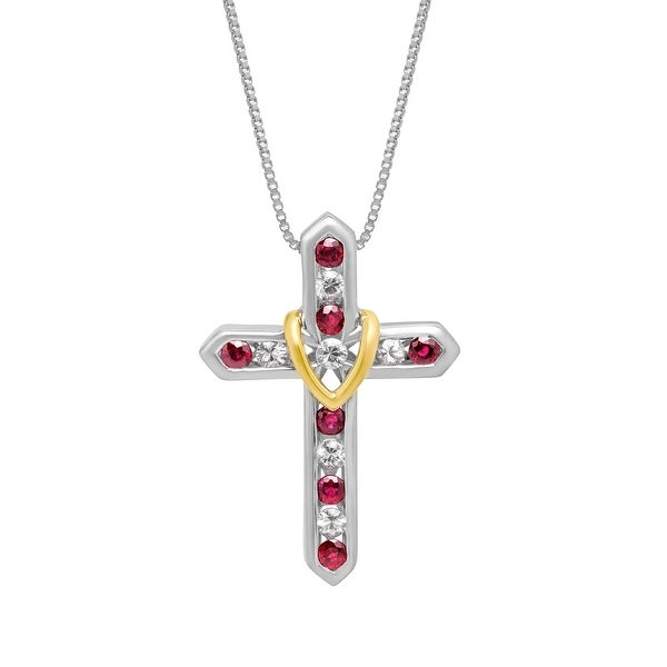 1 1/5 ct Natural Ruby & White Sapphire Cross Pendant in Sterling Silver & 14K Gold - Red