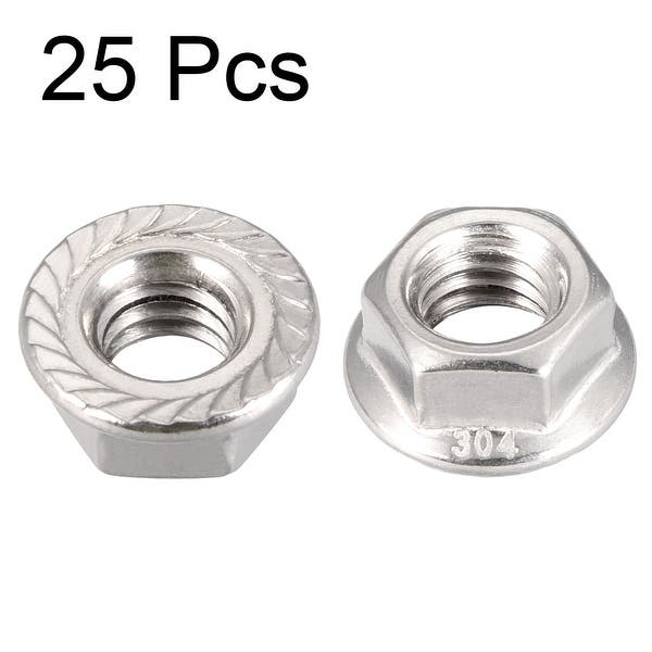 UNC 3//8-16 inch Serrated Flange Hex Lock Nuts (50 Pack Bright Finish Hex lock Nuts 304 18-8 Stainless Steel lock nut