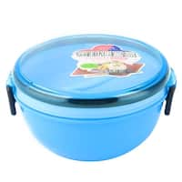 Unique Bargains Home Office Plastic Round Shaped Lunch Box Food Storage Container Blue