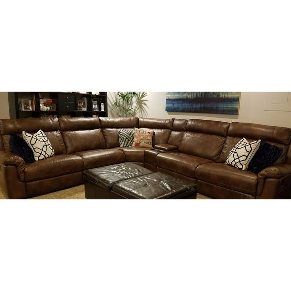 Shop Nicole Brown Leather Storage Reclining Sectional Sofa On Sale