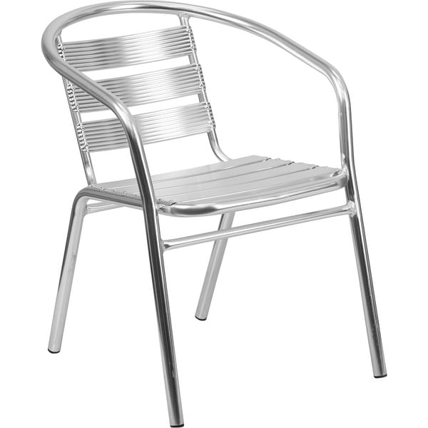 Skovde Heavy Duty Aluminum Indoor/Outdoor/Patio/Bar Stack Chair w/Triple Slat Back