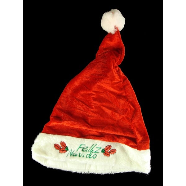 Club Pack of 144 Embroidered Feliz Navido Santa Claus Christmas Hats - RED