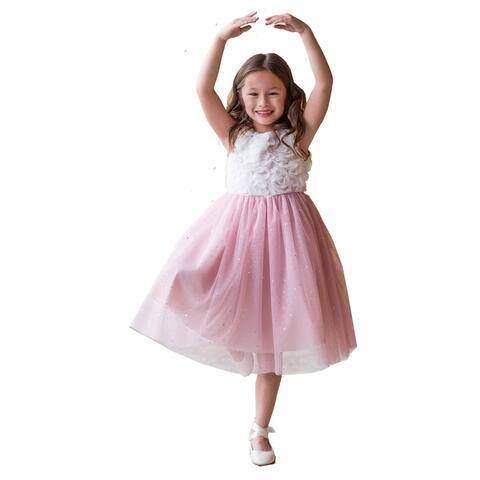 Kids Dream Little Girls Ivory Pink Glitter 3D Ruffle Flower Girl Dress