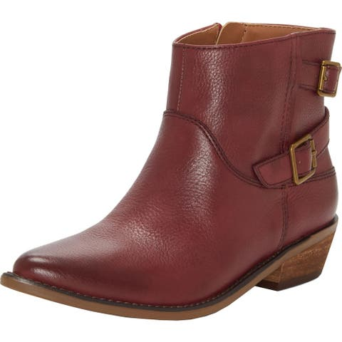 Lucky Brand Womens Caelyn Ankle Boots Leather Block Heel
