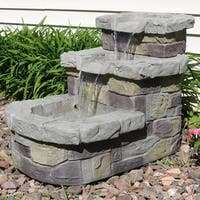 Sunnydaze 3-Tier Brick Steps Outdoor Lawn and Garden Water Fountain - 21-Inch