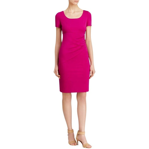 Diane Von Furstenberg Womens Bevina Wear to Work Dress Ruched Short Sleeves