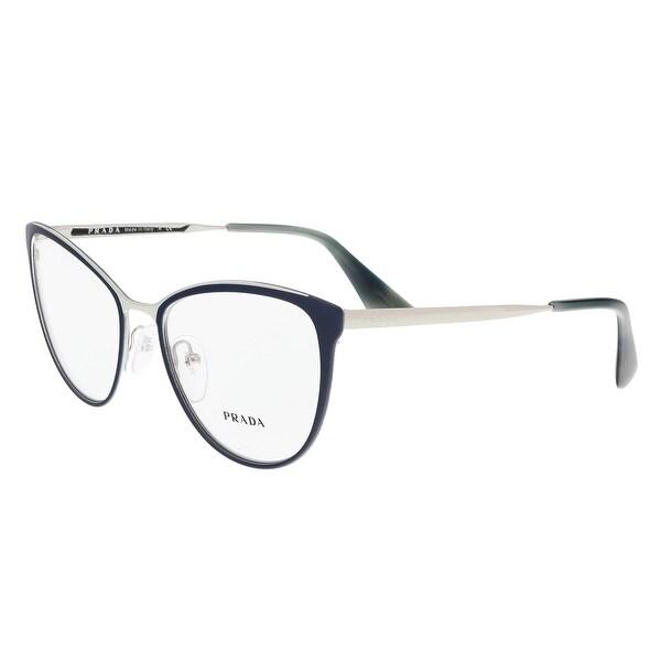 a23929f3ae5e Shop Prada PR 55TV U6R1O1 54 Matte Blue Silver Cateye Optical Frames ...