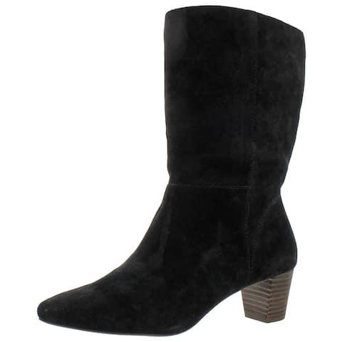 Lucky Brand Women's Zaahira Suede Slouchy Block Heel Boot